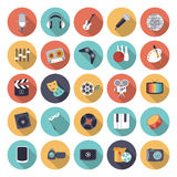 Flache Designikonen für Freizeit und Unterhaltung Lizenzfreie Stockfotografie