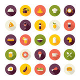 Flache Designikonen für Restaurant, Lebensmittel und Getränk Lizenzfreies Stockfoto