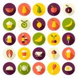 Flache Designikonen stellten für Lebensmittel und Getränke ein Lizenzfreie Stockfotografie