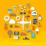 Flache Designillustration der Reise Stockfoto