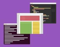 Flache Designillustration von Computerfenstern mit Lizenzfreies Stockbild