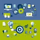 Flache Designillustrationskonzepte des entgegenkommenden Webdesigns und des Internet-Werbungsarbeitsprozesses Stockfoto