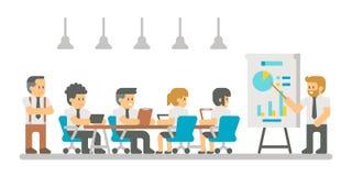 Flache Designkarikatur-Sitzungsgeschäftsleute Lizenzfreie Stockbilder