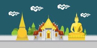 Flache Designlandschaft von Thailand-Tempel Stockfoto