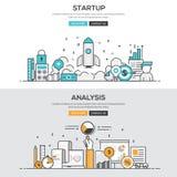 Flache Designlinie Konzept - beginnen Sie oben u. Analyse Stockfotos