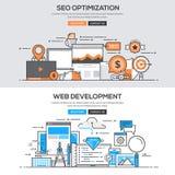 Flache Designlinie Konzept - Seo u. Entwicklung Lizenzfreie Stockfotos