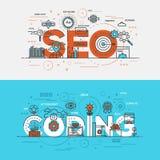 Flache Designlinie Konzeptfahne Seo und Kodierung Stockfoto