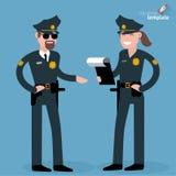 Flache Designmann- und -frauenpolizeibeamten Lizenzfreie Stockbilder