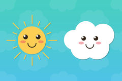 Flache Designsonnen- und -wolkencharaktere auf schönem Himmelhintergrund Lizenzfreie Stockfotos