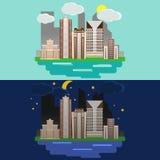 Flache Designstadtlandschaft Nacht- und Tagesstadt mit Gebäuden Stockfotografie