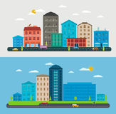 Flache Designstadtlandschaft, Zusammensetzungsstadtszene Stockbild