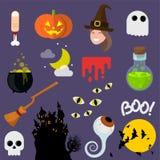 Flache Designvektor-Halloween-Ikonen Stockfotografie