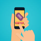 Flache Designvektor-Illustrationskonzepte der on-line-Kinokarte Lizenzfreie Stockfotografie