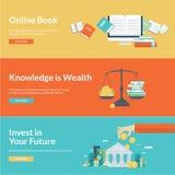 Flache Designvektor-Illustrationskonzepte für Bildung Stockfotografie