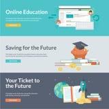 Flache Designvektor-Illustrationskonzepte für on-line-Bildung Lizenzfreie Stockfotos