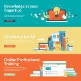 Flache Designvektor-Illustrationskonzepte für on-line-Bildung Stockfotografie