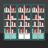 Flache Designvektorillustration des flachen Bücherschranks Lizenzfreie Stockbilder