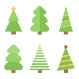 Flache DesignWeihnachtsbäume eingestellt Stockfotografie