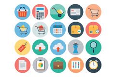 Flache Einkaufs-und Handels-Vektor-Ikonen 1 Stockfotos