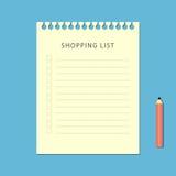 Flache Einkaufsliste und Bleistift auf blauem Hintergrund Stockfotos