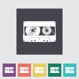 Flache einzelne Ikone der Audiokassette Stockbild
