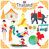 Flache Elemente für Designe über Thailand einschließlich das Wort THAILÄNDISCHE VERPACKEN in thailändischem auf Verpackenkurzen h Lizenzfreie Stockfotos