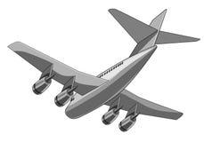 Flache Endlosschraubenansicht des Jumbo-Jets Stockbild