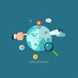 Flache entworfene Illustrationen für finden den rechten Platz und die bewegliche Navigation Konzeptnetzfahne und -Druckerzeugniss lizenzfreie abbildung