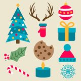 Flache Entwurf Weihnachtsartikelsammlung stock abbildung