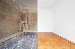 Flache Erneuerung, leerer Raum vor und nach Erneuerung oder Wiederherstellung lizenzfreie stockfotos