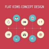 Flache errichtende Ikonen, Social Media-Anzeigen, Publikum und andere Vektor-Elemente Satz von flache Ikonen-Symbole auch annonci Stockfoto