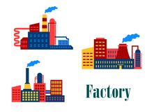 Flache Fabrik- und Betriebsikonen Lizenzfreie Stockbilder