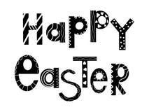 Flache Fahne des glücklichen Ostern-Feierfestivals Skandinavische Artgrußkarte Schwarzer festlicher Wunschvektor Lustiger Frühlin vektor abbildung
