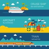 Flache Fahnen der Reise stellten vom Kreuzschiff, Flugzeug, Zug ein Lizenzfreies Stockbild