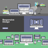 Flache Fahnen des entgegenkommenden Webdesigns Stockfotografie