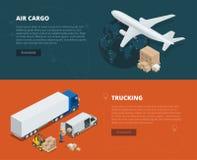 Flache Fahnen des logistischen Konzeptes der Luftfracht, tauschend Pünktliche Lieferung Lieferung und logistisches Vektor isometr Lizenzfreies Stockbild