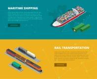 Flache Fahnen des logistischen Konzeptes der Seeschifffahrt, Schienentransport Pünktliche Lieferung Lieferung und logistisches Ve Stockfoto