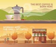 Flache Fahnen des Vektors getränke Kaffee Stockbild