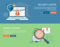 Flache Fahnen eingestellt Sicherheitsmitte und Suchmaschineillustration Stockbild
