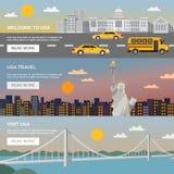 Flache Fahnen eingestellte USA-Reise-Informationen lizenzfreie abbildung