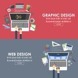 Flache Fahnen für Grafikdesign und Webdesign Vektor Lizenzfreie Stockfotos