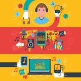 Flache Fahnen Musik apps Konzeptes eingestellt Lizenzfreies Stockbild