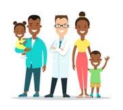 Flache Familienkinderdoktorcharaktere nennwert stock abbildung