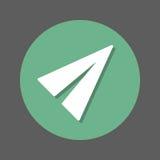 Flache flache Papierikone Runder bunter Knopf, Kreisvektorzeichen mit Schatteneffekt Flaches Artdesign Lizenzfreie Stockfotografie