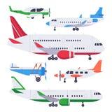Flache Flugzeuge Luftfahrtflossflugzeug, privates Flugzeug und Düsenflugzeug lokalisierten Vektorillustrationssatz vektor abbildung