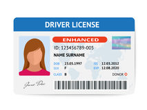 Flache FrauenFührerscheinplastikkartenschablone, Identifikations-Kartenvektorillustration Lizenzfreie Stockbilder