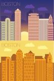 Flache Gebäudestadt Bostons Lizenzfreie Stockfotografie