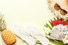 Flache gelegte Einzelteile der Reise: frische Ananas, Strohhut, Blume, Bargeld, Sonnenbrille, Strandpantoffel und Palmblatt Platz stockfotografie