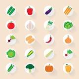 Flache Gemüseikonen Stockfoto
