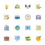 Flache Geschäfts-u. Büro-Ikonen lizenzfreie abbildung